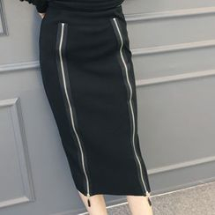 DANI LOVE - Zip-Front Long Pencil Skirt