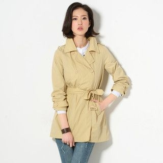YesStyle Z - Double-Breasted Belted Trench Coat