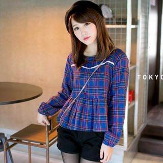 Tokyo Fashion - Long-Sleeve Plaid Peplum Top