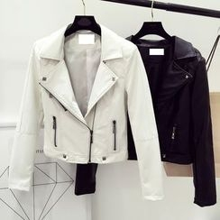 DIYI - Faux Leather Zip Jacket