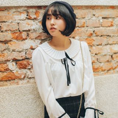 11.STREET - Accordion Pleated Collar Tie-Neck Blouse