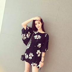 Oaksa - Elbow-Sleeve Tie Waist Floral Dress
