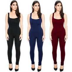 Hotprint - Plain Sleeveless Jumpsuit