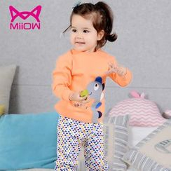 MiiOW - Kids Set: Cartoon Print Long-Sleeve T-Shirt + Pants