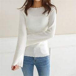 Styleberry - Scallop-Trim Ribbed Top