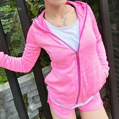 GYM QUEEN - Piped  Hooded Sports Jacket