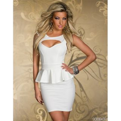 Hotprint - Cut Out Detailed Sleeveless Peplum Mini Dress