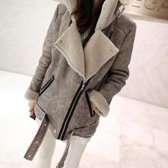 Angel Shine - Faux Leather Fleece-Lined Jacket