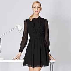 O.SA - Pleated Ruffle Chiffon Shirtdress