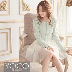 Tokyo Fashion - Mock Two-Piece Nubby Knit Panel Dress