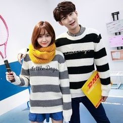 TOOI - Couple Matching Letter Embroidered Striped Sweater