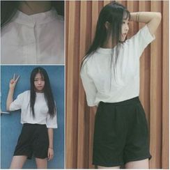 YOSH - Set: Plain Elbow-Sleeve T-shirt + Shorts