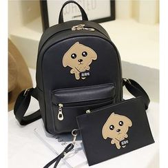Merlain - Kids Set: Dog Faux Leather Backpack + Wristlet