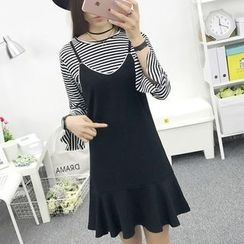 Cottony - Set: Striped Long Sleeve T-Shirt + Spaghetti Strap Dress