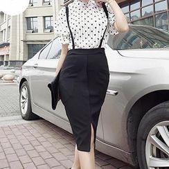 Cherry Dress - Set: Short-Sleeve Dotted Top + Suspender Skirt