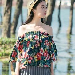 Sens Collection - Floral Print Off Shoulder Elbow Sleeve Top