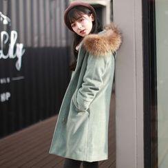 Wind Town - Furry-Trim Hooded Zip Coat