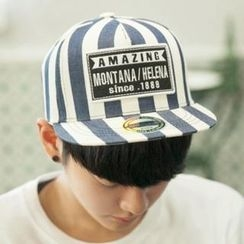 ABOKI - Lettering-Patch Stripe Cap
