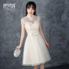 Fantasy Bride - Short-Sleeve Lace Cocktail Dress