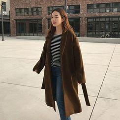 Seoul Fashion - Wool Blend Coat with Sash