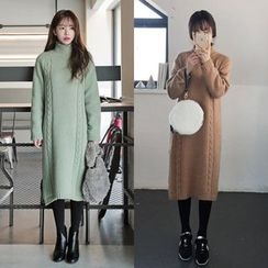 Seoul Fashion - Turtle-Neck Wool Blend Cable-Knit Dress