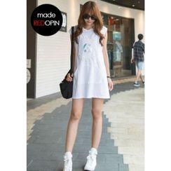 REDOPIN - Sleeveless Hooded Textured Dress