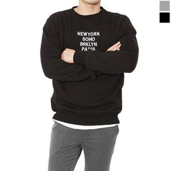 Seoul Homme - Lettering Embroidered Sweatshirt
