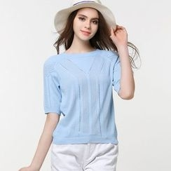 Edera - Short Sleeve Cut Out Knit Pullover
