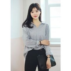 DEEPNY - Open-Placket Long-Sleeve Cotton Top