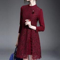 Alaroo - 七分袖蕾絲拼接連衣裙