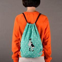 Pinkoi - Cartoon Print Drawstring Lightweight Backpack