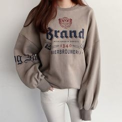 NIPONJJUYA - Lettering Brushed-Fleece Lined Sweatshirt