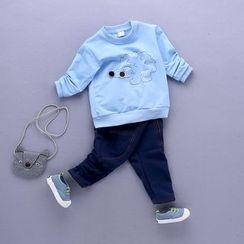 POMME - 童装套装: 刺猬刺绣套衫 + 牛仔裤
