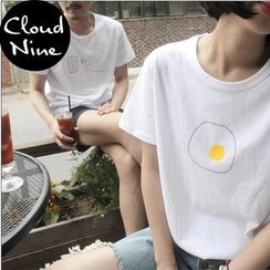 Cloud Nine - Short-Sleeve Egg Print T-Shirt
