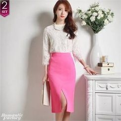 Romantic Factory - Set: Crocheted Top + Slit-Front Pencil Skirt