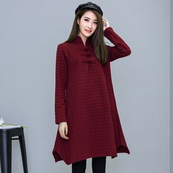 Yeeya - Stand Collar Houndstooth Long-Sleeve Dress