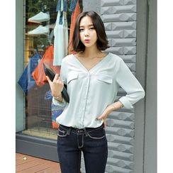 Seoul Fashion - V-Neck Chiffon Blouse