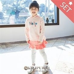 LILIPURRI - Set: Hooded Lettering T-Shirt + Plain Leggings