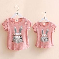 Seashells Kids - Family Matching Rabbit Print T-Shirt