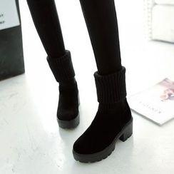 Kireina - Chunky-Heel Platform Paneled Short Boots