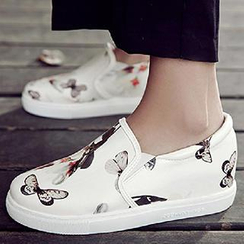 Gizmal Boots - Butterfly Print Canvas Slip Ons