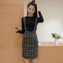 EFO - Set: Rib Knit Top + Jumper Plaid Skirt