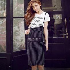 Munai - Set: Lettering T-Shirt + Suspender Pinstripe Skirt