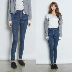 Angel Shine - 高腰排扣小脚牛仔裤