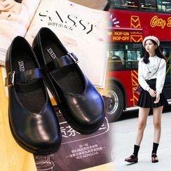 安若 - 仿皮飾扣鞋