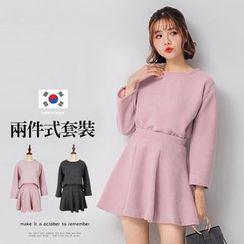 PUFII - 正韓短版上衣+傘擺短裙兩件式套裝