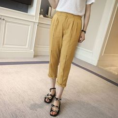Colorful Shop - Plain Paneled Baggy Pants