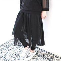 GLAM12 - Inset Lace Skirt Leggings