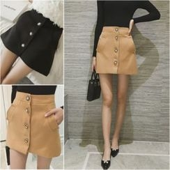 Whitney's Shop - Buttoned A-Line Mini Skirt