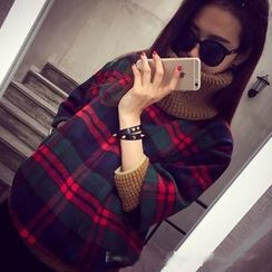 QZ Lady - Mock Two-Piece Plaid Top with Circle Scarf